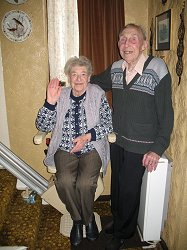 Dr Stirling helped Mr and Mrs Kettle to have a new stair lift on their stairs